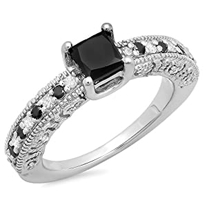 1.40 Carat (ctw) Sterling Silver Black & White Diamond Ladies Bridal Vintage Engagement Ring (Size 7)