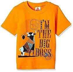 UFO Boys' T-Shirt (AW-16-KF-BKT-216_Orange_4 - 5 years)