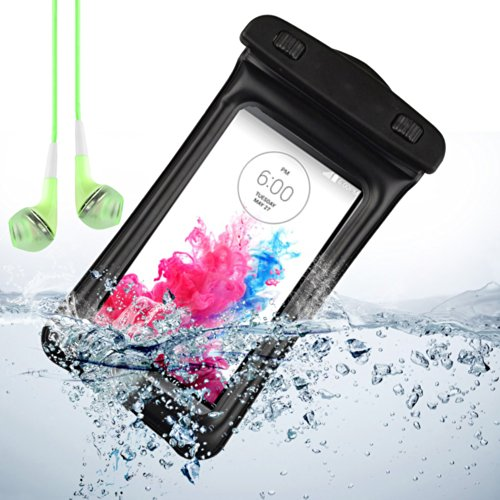 Black Waterproof Pouch Case Dry Bag For Lg G3 / Lg G2 / Lg Optimus Gk / Lg Optimus G Pro + Vangoddy Green Headphone With Mic