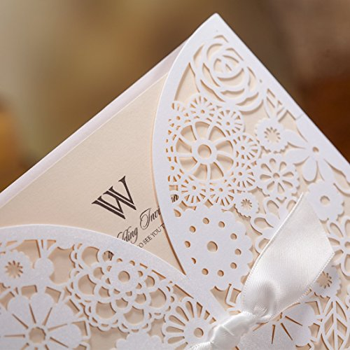 Wishmade 50x Laser Cut Trifold Lace Sleeve Wedding Invitations Cards Kits for Wedding Engagement Bridal Shower Baby Shower Birthday Quinceanera Graduation Paper with Bow(set of 50pcs) 6