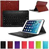 CoastaCloud Ultramince Keyboard Cover Protection avec Clavier AZERTY Magnétique pour iPad mini 2,iPad Mini 1 - Brun