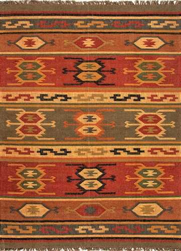 Jaipurrugs Home Indoor Floor Decorative Flat-Weave Tribal Pattern Jute Red/Yellow Thebes Rectangle Area Rug Border Color Deep Rust 5x8