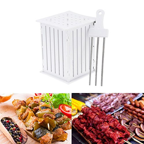 FLY5D 36 Holes BBQ Kabob Skewer Maker with Stainless Steel Skewers Kebab Maker Box Beef Meat Tools Barbecue's Good Helper (Bbq Maker compare prices)