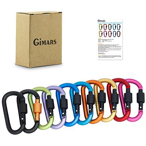 GIMARS 10 verschieden farbigen Karabiner Schlüsselanhänger...
