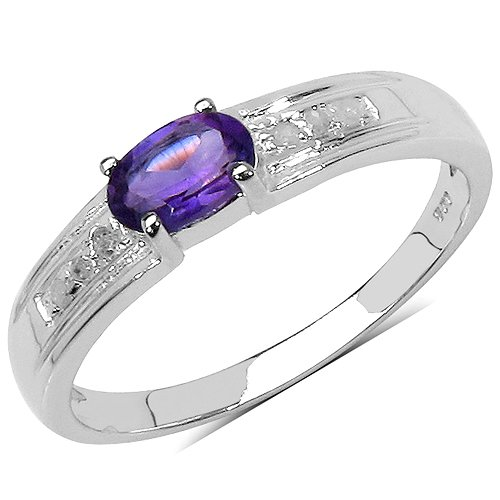 The Amethyst ring Collection: Ladies 925 Sterling Silver Amethyst & Diamond Engagement Ring with 0.48 Carats Genuine Amethyst and 6 Diamonds (Size P). Comes in a Quality Ring Case for that Special Gift.