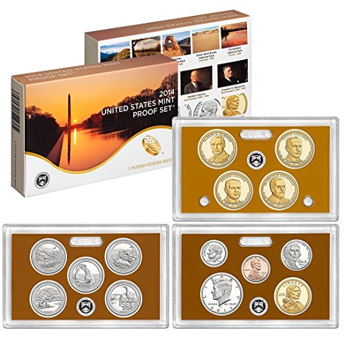 2014 S U.S. Mint 14-coin Clad Proof Set - OGP box & COA Proof (Us Mint Box compare prices)