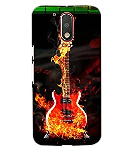 ColourCraft Burning Guitar Design Back Case Cover for MOTOROLA MOTO G4 PLUS