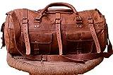 "INDO CRAFT Vintage Handmade Leather Duffel Bag 22"", Gym Travel Weekend Luggage Bag"