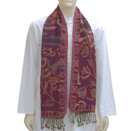 Winter Scarfs for Men Wool Winter Fashion 12 x 60 inches, Color: Paisley/Red