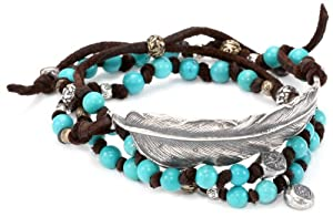 M.Cohen Hand made Designs Triple Wrap Turquoise-Color Beads and Feather on Brown Leather Bracelet