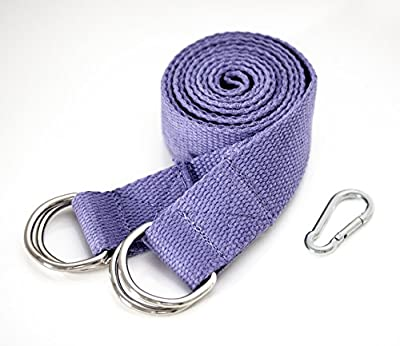2-IN-1 Yoga Stretching Strap & Mat Carrier. 6 foot Long, 100% Cotton, 4 D-Rings. Perfect Yoga Accessory for Women, Men, Beginners to Pros. Fits All Yoga Mats. Maintain Poses and Prolong Stretches