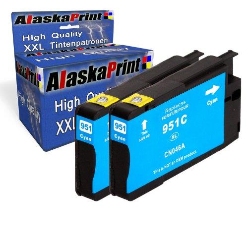 2x Druckerpatrone Ersatz für Hp 1x 951 XL Original alaskaprint Tinte Cyan, je 1.500 Seiten Leistung Ersatz für Hp CN046AE ( 951 xl , HP 951 XL ) , Blau
