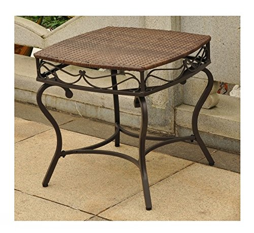International Caravan Lisbon Wicker Patio Side Table in Antique Brown 0