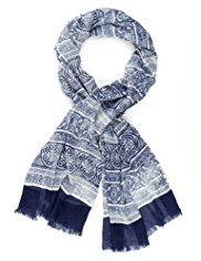 Indigo Collection Lightweight Mosaic Tile Print Scarf
