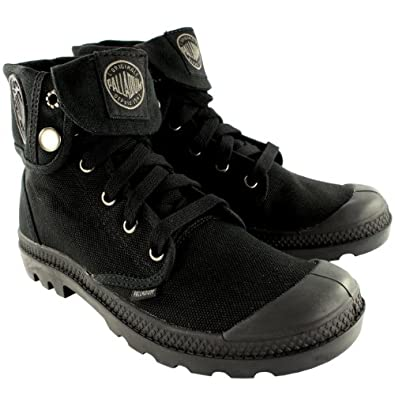Mens Palladium Baggy Lace Up Fold Cuff Canvas Ankle High Boots New - 7 - Black