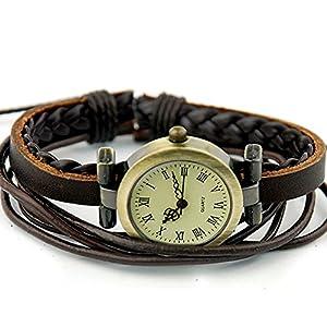 Retro Damen Damenuhr Weave Wrap Leder Lederarmband Quarz Armbanduhr Braun