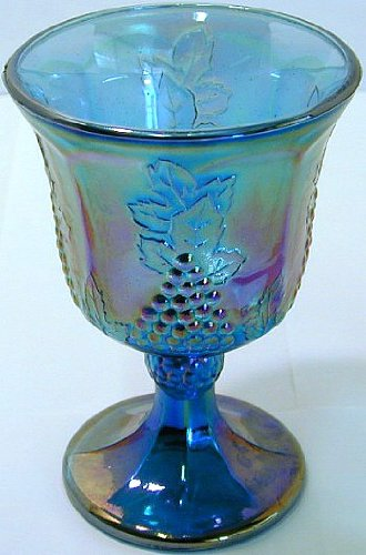 GL272 - Indiana Harvest Grape rainbow carnival glass goblet Harvest Grape Carnival Glass