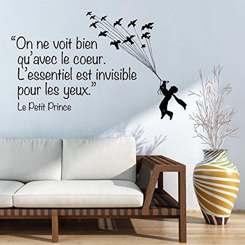 adesiviamo le petit prince on ne voit bien qu 39 avec le coeur mural sticker wall deco. Black Bedroom Furniture Sets. Home Design Ideas