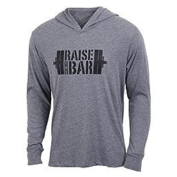 Raise the Bar - Gray - Men\'s Barbell Long Sleeve Triblend Hoody Shirt