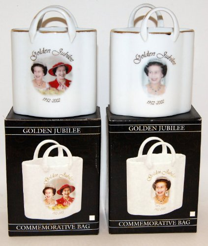 "Golden Jubilee Commemorative Porcelain Bag Vase 4"" - Priced Each - Picture Shows 2 Designs Available"