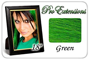 "Pro Extensions 18"" Green Highlight Streaks Clip-in Human Hair Extensions"
