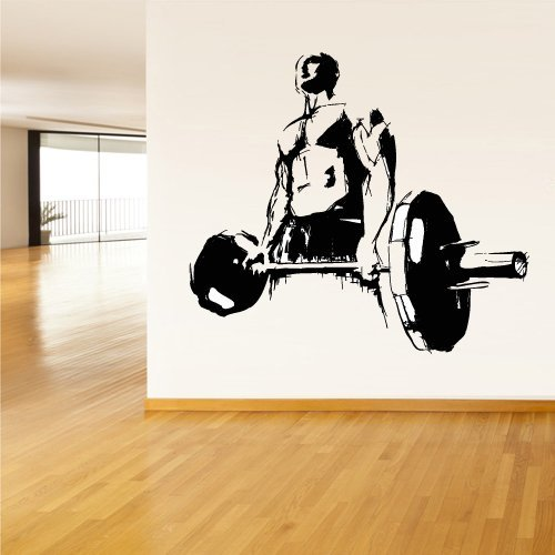 Wall Decal Vinyl Sticker Decals Gym Gymnastics Muscule Fitness Sport Man Rod Barbell (Z3063)