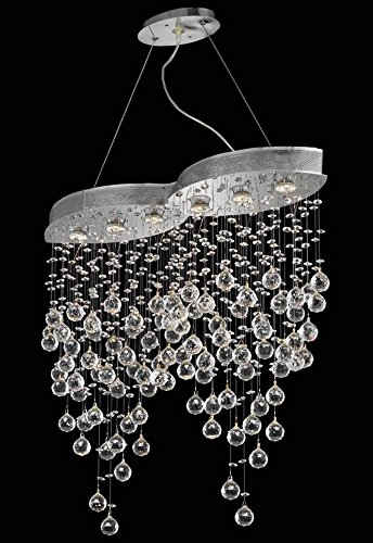 2025 Galaxy Collection Hanging Fixture L33In W10In H36In Lt:6 Chrome Finish (Elegant Cut Crystals) front-664129