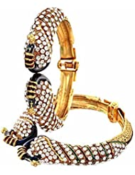 Meenaz Peacock Bangles For Women Gold Plated Bangles For Women Of 2 Sets BA122