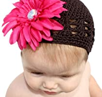 Brown Crochet Baby Kufi Hat with a Hot Pink Detachable Flower (0 - 9 months)