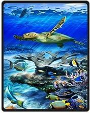 Underwater World the Swimming Turtle Fleece Throw Blanket 40quot x 50quot