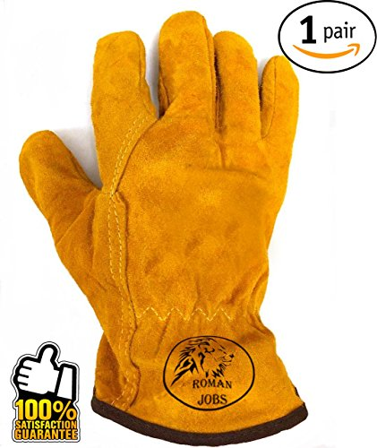 Work Leather Gloves ★ for Men, Working, Wood Cutting, Mechanic, Gardening, Driving, Welding ★ Heavy Duty Gloves to Protect Hands from Scratches, Injuries ★ Leather Working Gloves ★ Winter Work Gloves (Heat Shielding For Wood Stoves compare prices)