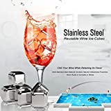 Whiskey Stones, Yummy Sam Reusable Ice Stones Stainless Steel Chilling Wine Ice Cubes Chilling Rocks in Gift Box with Muslin Carrying Pouch and Tongs (Set of 6)