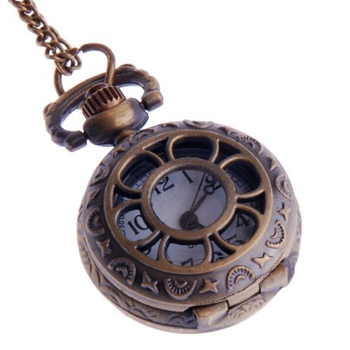 Ladies-Pocket-Watch-Pendant-Necklace-Small-Face-White-Dial-Neo-Vintage-Steampunk-Flower-Web-Design-PW-57