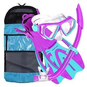 US Divers Junior Dorado/Seabreeze/Proflex Mask/Snorkel and Fins - Purple/Blue, Age 6+/UK 12-2