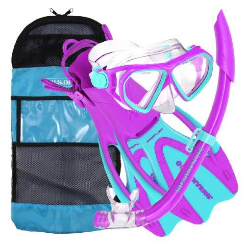 us-divers-junior-dorado-seabreeze-proflex-mask-snorkel-and-fins-purple-blue-age-6-eu-32-35