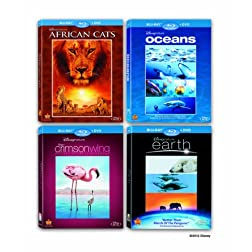Disneynature Four-Movie Collection (African Cats / Oceans / Earth / Crimson Wings) (Blu-ray/DVD Combo)