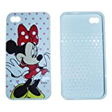 iPhone 4S / 4G / 4 Minnie Mouse w/ pink dots Disney Design on white TPU Protector Cover Case - Includes TWO Bonus Personal Charm Straps!