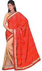 Aakriti Fashion Women's Georgette Saree(7050_chikko orange)
