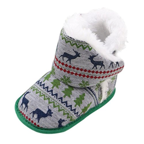 Weixinbuy Infant Baby Boys Girls Ankle Slip-on Shoes Christmas Snow Boots