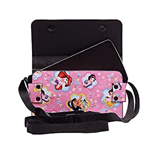 Colorkart Printed Mobile Pouch Handbag With Adjustable Strip For Vivo Y15 Smartphone (Pink)