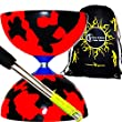Jester Diabolo Set (Black/Red) + Metal Diabolo Sticks, Diablo String & Travel Bag.