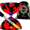 Jester Diabolo Set (Black/Red) + Metal Diabolo Sticks, Diablo String & Travel Bag.