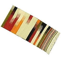 Cotton Multicolor Indian Navajo Hand Woven Runner Jute Rug Floor Carpet Dari 56\