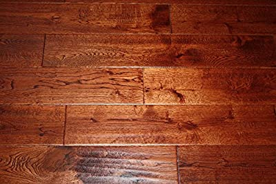 "Elk Mountain Oak Gunstock Brazil 3/4 x 5"" Hand Scraped SOLID Hardwood Flooring FH288 SAMPLE"