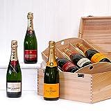 6 Bottle Deluxe Champagne Gift Box - 2 x 750ml Veuve Clicquot, 2 x 750ml Moet et Chandon, 2 x Piper-Heidsieck Champagnes, Luxury Wedding Anniversary, Retirement, 18th 21st 30th 40th 50th 60th 70th 80th 90th Birthday Gifts & Hampers for Men, Women, Her, H
