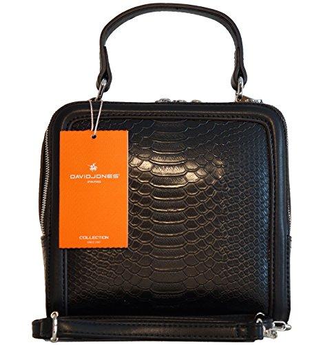 Borsa donna mini bag David Jones in ecopelle lavorazione effetto rettile, modello a doppio scomparto, portabile a mano e a tracolla - nera