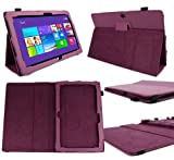 DURAGADGET Executive Purple Faux Leather Folio Case With Built In Stand Custom Designed For The Microsoft Surface Pro 2 10.6 Inch Tablet Hybrid PC (64GB,128GB,256GB,512GB)