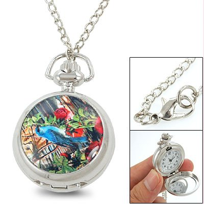 Rosallini Blue Bird Flower Pattern Numeral Pocket Watch Necklace