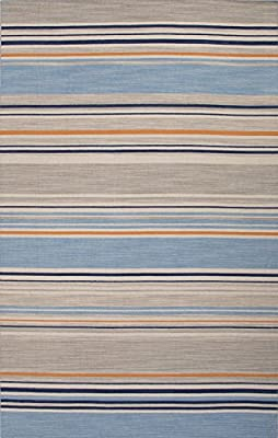 Addison and Banks Flat-Weave Stripe Pattern Wool Area Rug, 2 by 3-Feet, Ocean Blue/White Ice