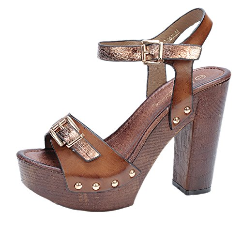 Nature Breeze Women's Maroon-04 Elegant Two-Tone Chunky High Heel Wooden Platform Buckle Sandal,Tan,8 (Wood Platform Shoes compare prices)